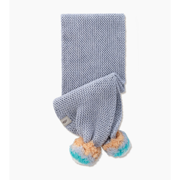 KIDS' UGG MULTI COLOR POM SCARF GREY HEATHER ON SALE