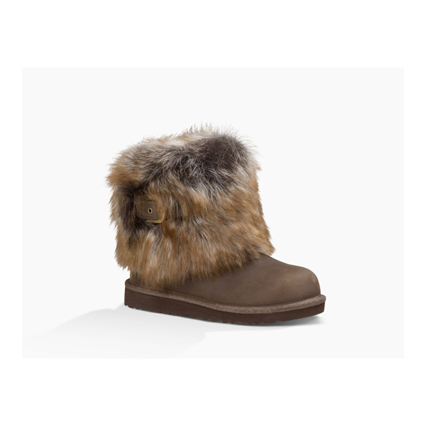 KIDS' UGG ELLEE LEATHER CHOCOLATE ON SALE
