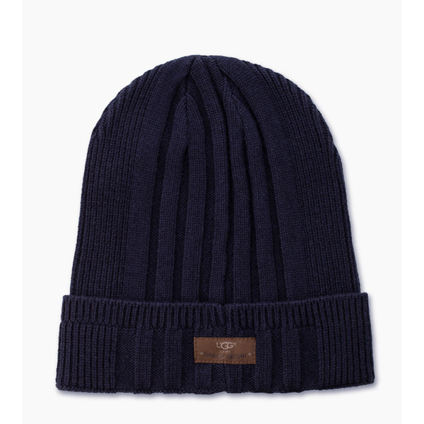 MEN'S UGG RIBBED CUFF HAT NAVY ON SALE