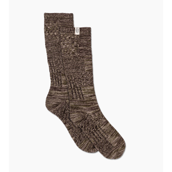 MEN'S UGG PATCHWORK CREW SOCK STORMY GREY PATCHWORK ON SALE