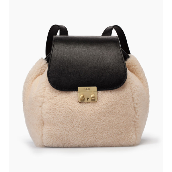 WOMEN'S UGG VIVIENNE SHEEPSKIN BACKPACK BLACK/NATURAL ON SALE