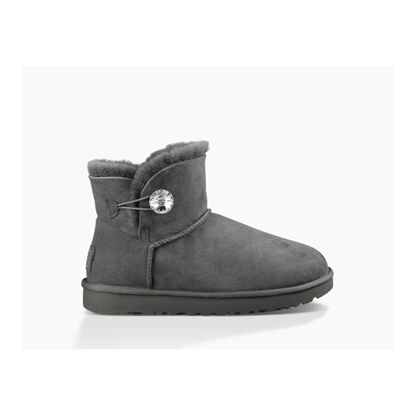 WOMEN'S UGG MINI BAILEY BUTTON BLING GREY ON SALE