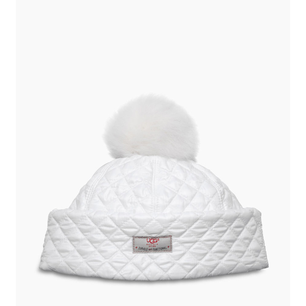 WOMEN'S UGG QUILTED POM HAT WHITE MULTI ON SALE